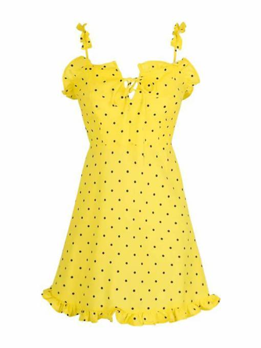 Polka Falbala Women's Party Dress