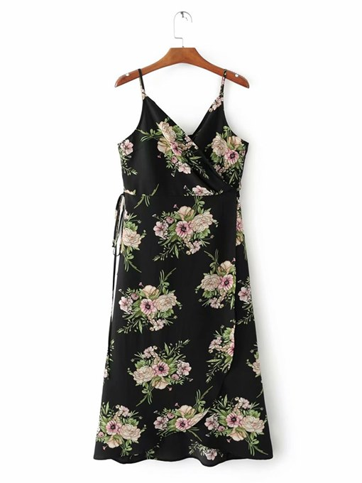 Floral Black Strappy Women's Sexy Dress