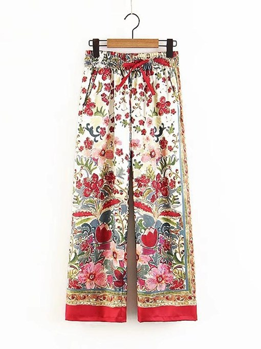 Loose Floral Wide Legs Women's Casual Pants