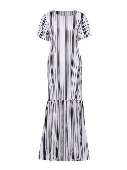Striped Loose Pockets Women's Maxi Dress
