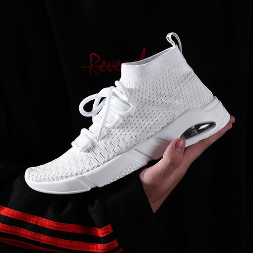 High-Cut Lace Up Mesh Round Toe Air-Cushion Casual Shoes for Men