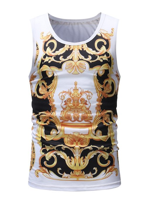 Gold Print Thin Slim Fit Men's Vest