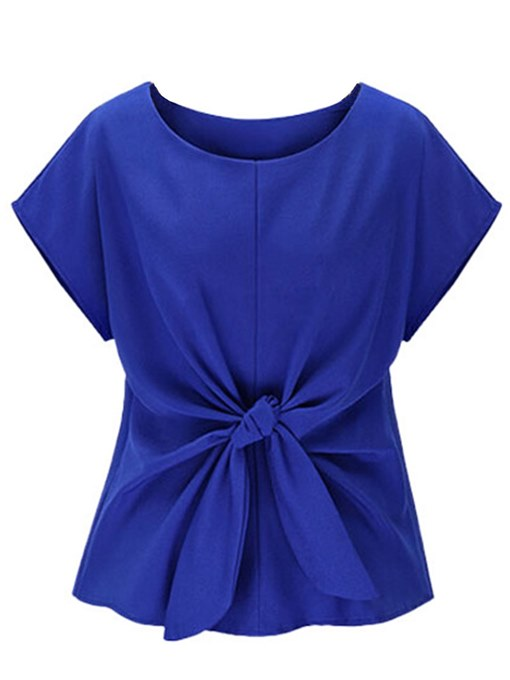Solid Color Bowknot Batwing Sleeve Women's T-Shirt