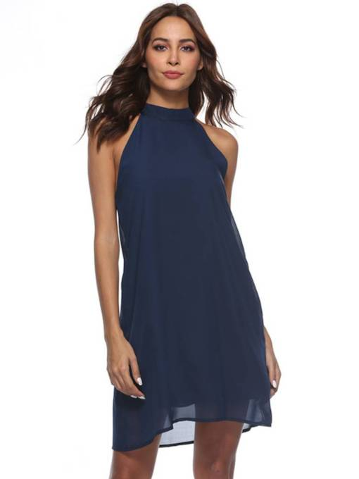 Dark Blue Straight Chiffon Women's Day Dress