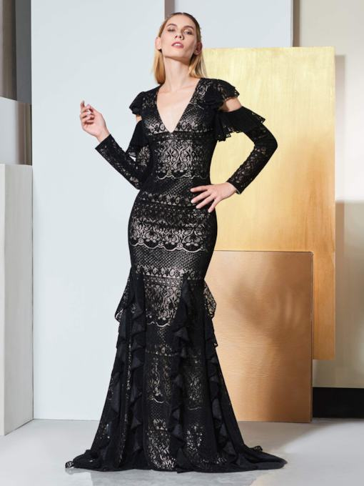 Mermaid V-Neck Long Sleeves Lace Pleats Evening Dress