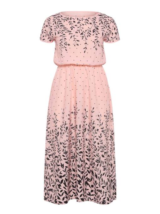 Pink Floral Plus Size Women's Maxi Dress