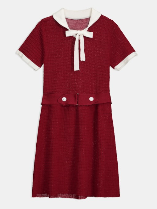 Red Short Sleeve Polo Neck Women's Day Dress