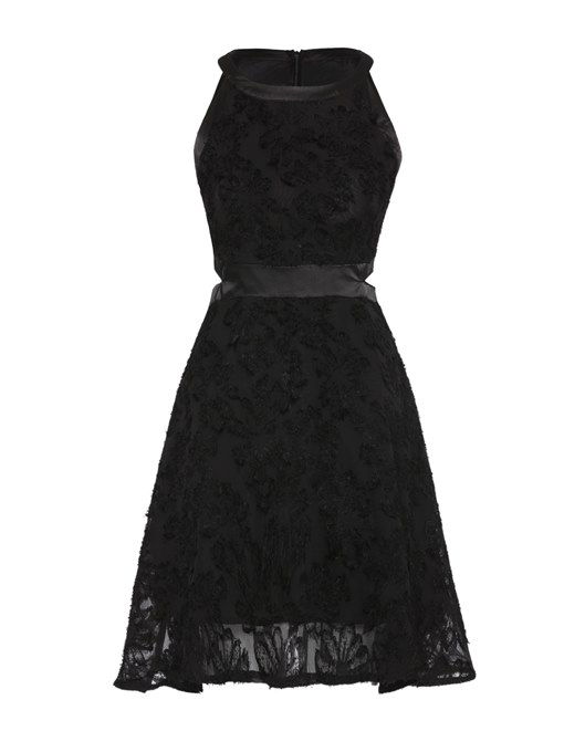 Black Back Zipper Women's Lace Dress