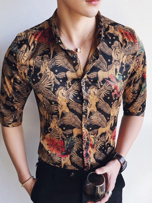 Lapel Floral Print Luxury Men's Dress Shirt