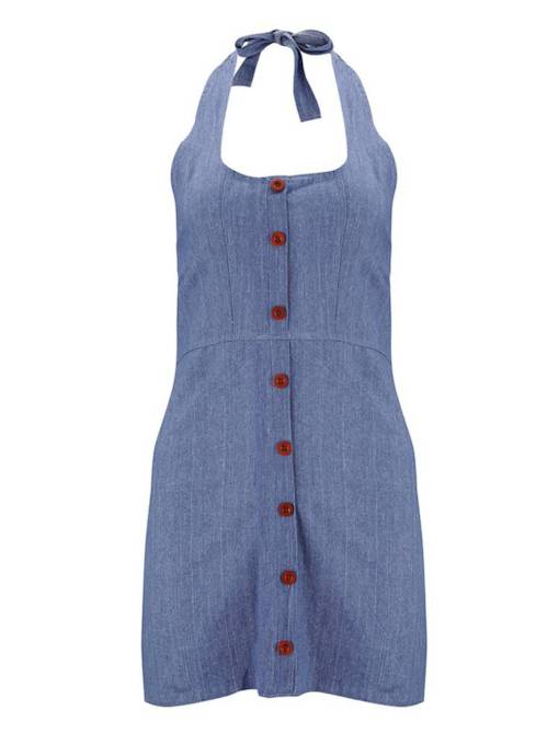 Blue Single-Breasted Women's Party Dress