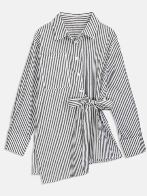 Asymmetric Stripe Printed Tie Waist Women's Shirt