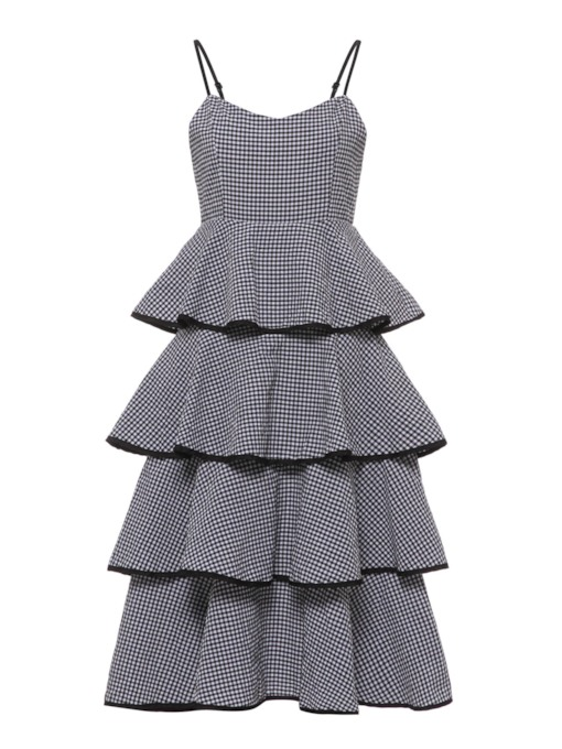 Black Plaid Strappy Women's Tiered Dress