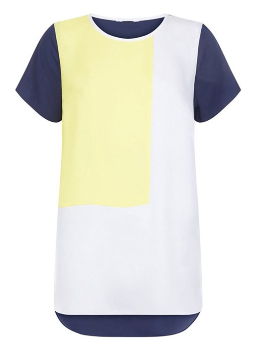 Plus Size Color Block Short Sleeve Women's Simple T-Shirt