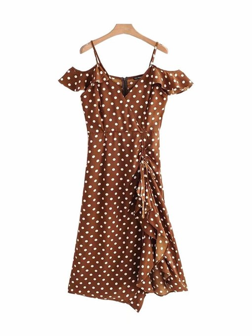 Brown Polka Dots Women's Party Dress