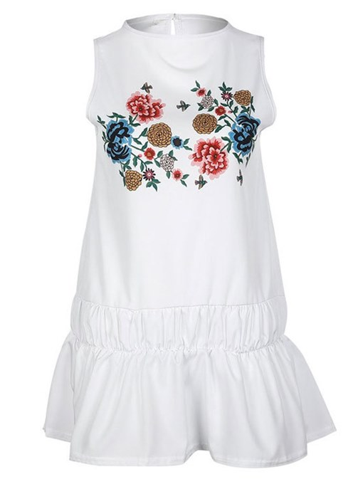 White Sleeveless Appliques Women's Summer Dress