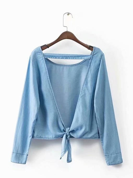 Wrapped Tie Front Long Sleeve Women's Blouse