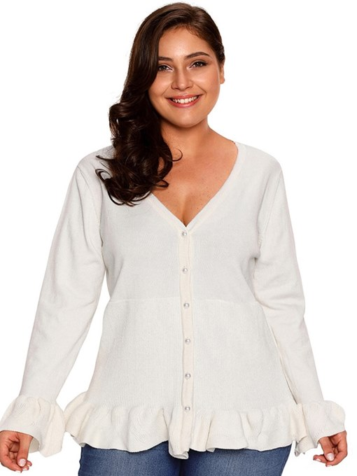 Plus Size Frill Button Down Flare Sleeve Women's Knitwear