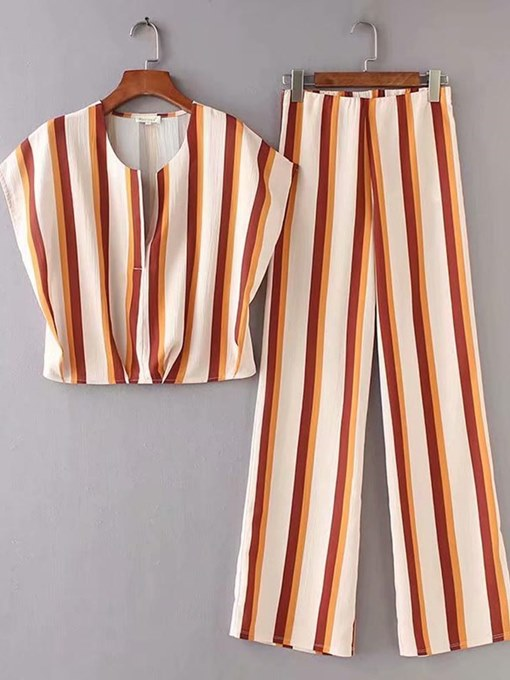 Color Block Stripe Top and Pants Women's Two Piece Set