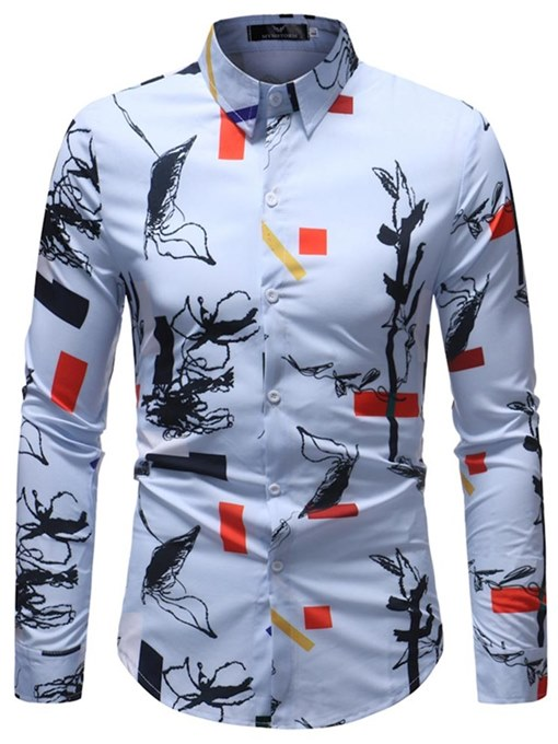 Chinese Style Print Lapel Men's Leisure Shirt