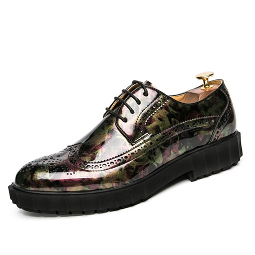 Round Toe PU Printed Low-Cut Professional Men's Oxford