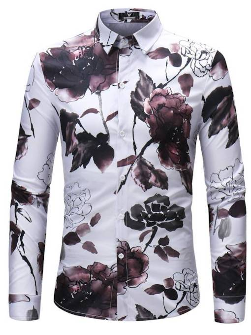 Chinese Style Flower Print Men's Shirt