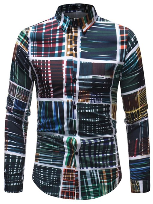 Lapel Patchwork Plaid Men's Shirt