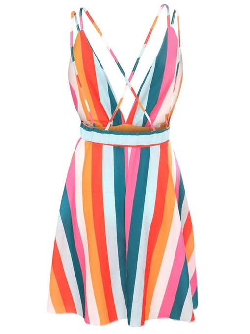 Color Block Striped Women's Sexy Dress