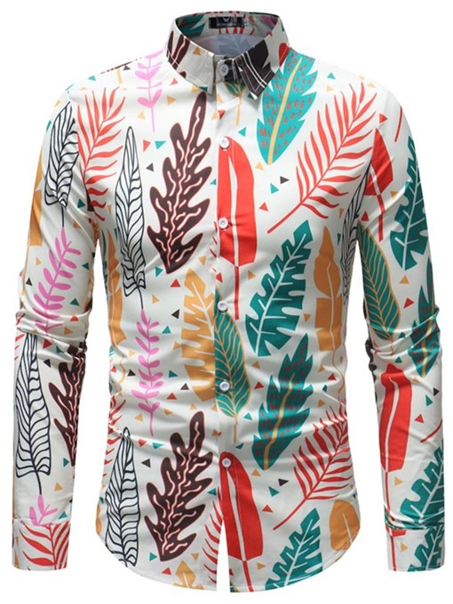 Lapel Color Print Leisure Men's Shirt