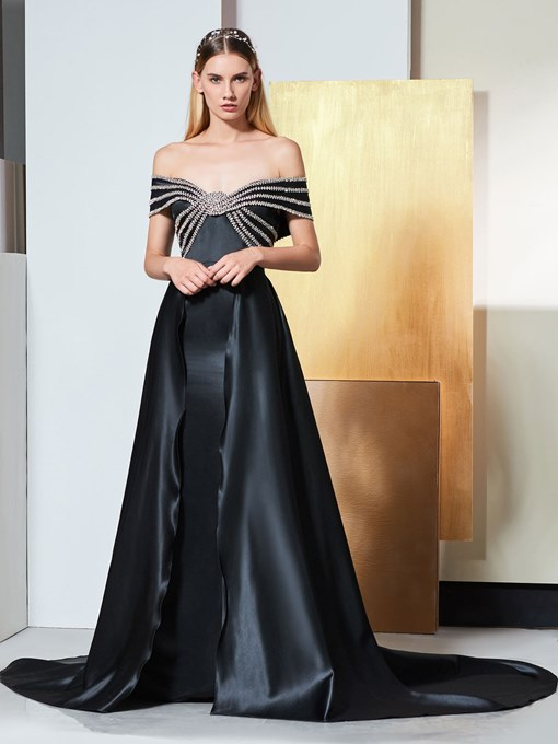 A-Line Beading Off-the-Shoulder Court Train Evening Dress