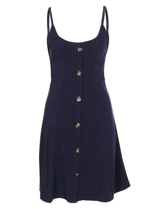 Single-Breasted Dark Blue Women's Day Dress