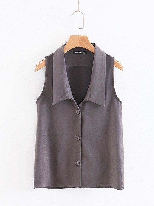 Button Up Tailored Collar Sleeveless Women's Shirt