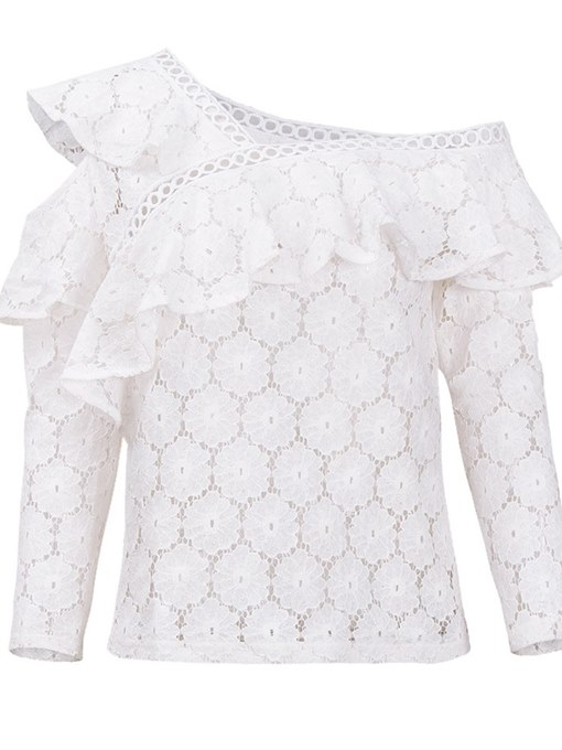Aysmmetric Sheer Lace Falbala Blouse Women's Top