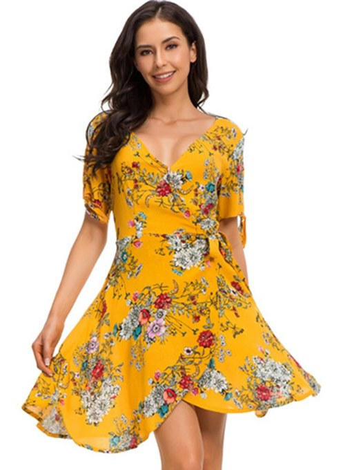 Short Sleeve Yellow Floral Women's Day Dress