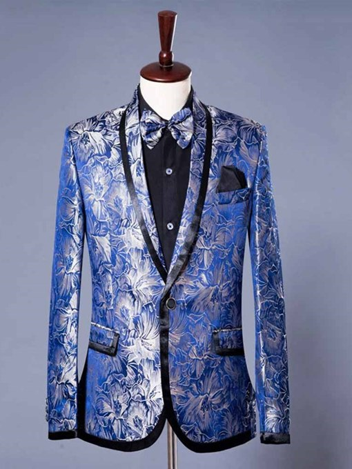 England Style Floral Print Luxury Men's Dress Blazer