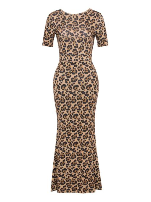 Leopard Open Back Women's Maxi Dress
