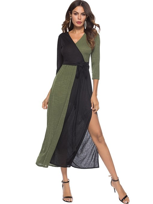 3/4 Length Sleeve High-Waist Women's Maxi Dress