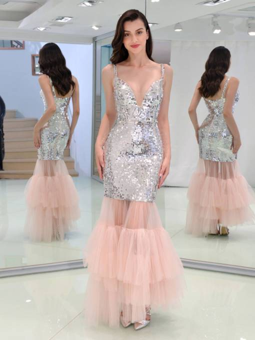 Sequins V-Neck Mermaid Evening Dress