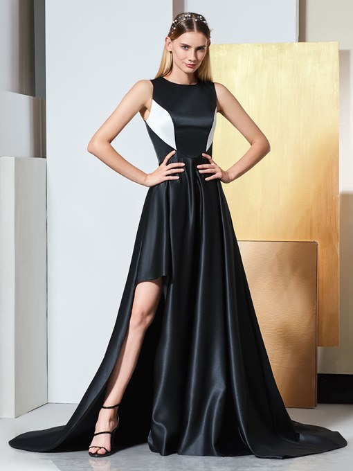 A-Line Scoop Split-Front Court Train Evening Dress