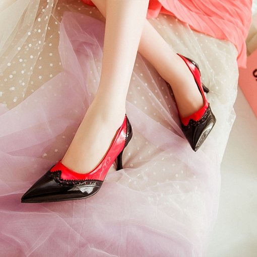Color Block Pointed Toe Stiletto Heel Slip-On Pumps for Women