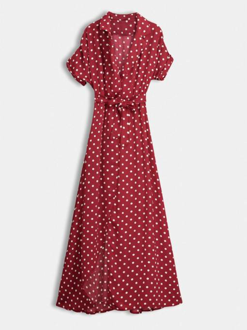 V Neck Polka Dots Prints Women's Maxi Dress
