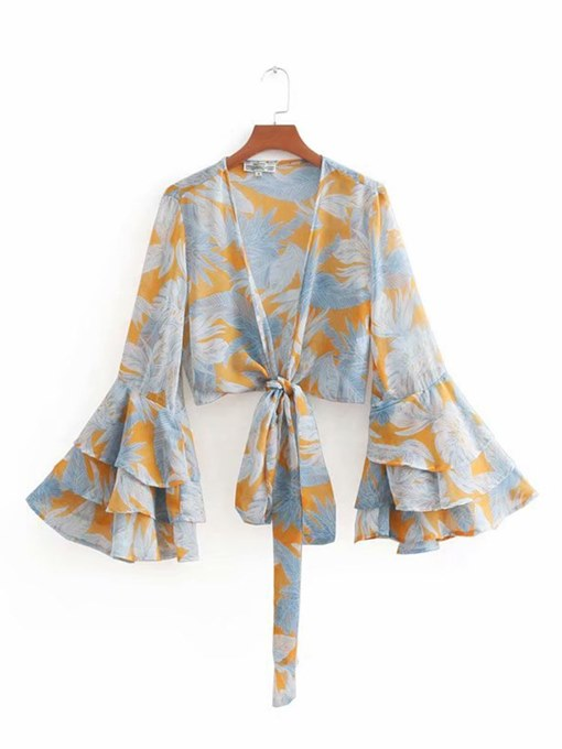 Flare Sleeve Mixed Print Wrapped Top Women's Blouse