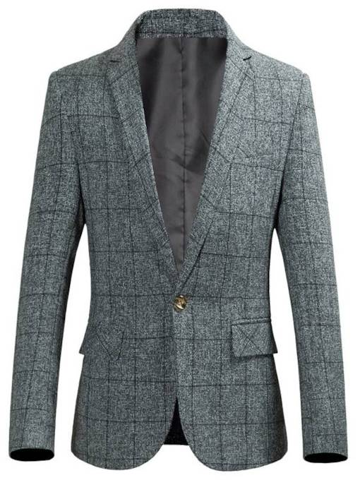 Plus-Size Plaid Leisure Men's Blazer
