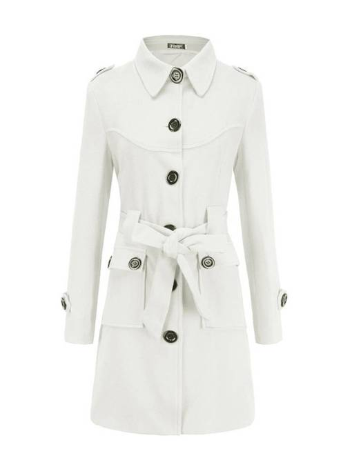 Slim Fit Mid Length Belt Single-Breasted Women's Overcoat