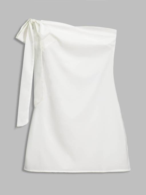 White One Shoulder Women's Day Dress