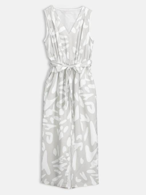 Silver Lace up Women's Maxi Dress