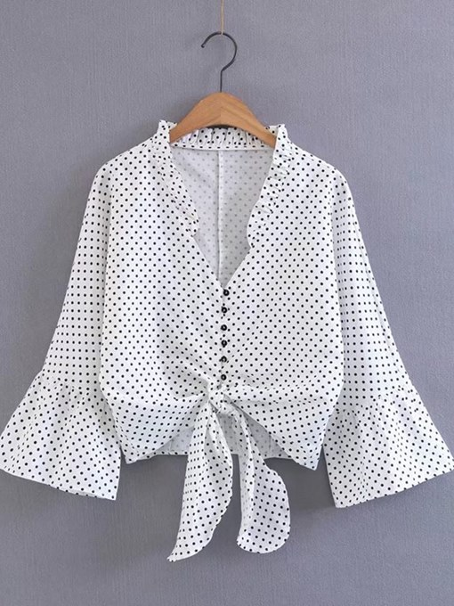 Polka Dot Single Breasted Bell Sleeve Women's Shirt