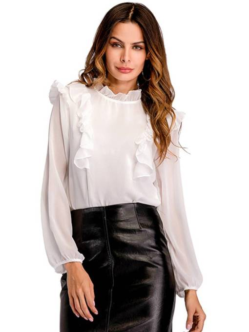Stand Collar Long Sleeve Frilled Women's Blouse