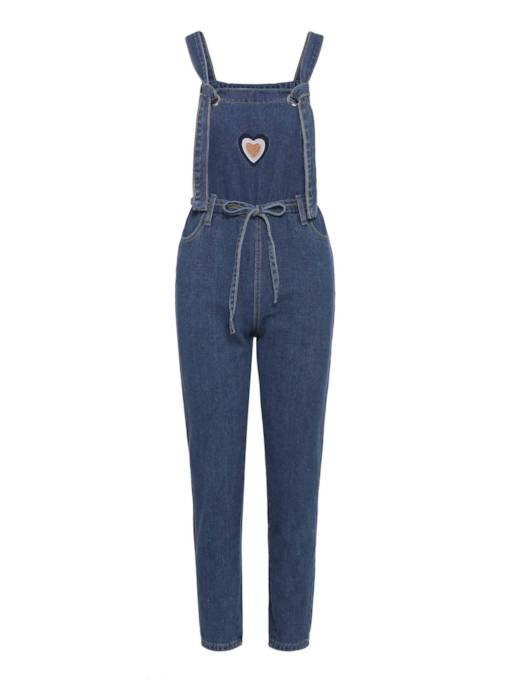 Denim Long Pocket Lace-Up Women's Overalls