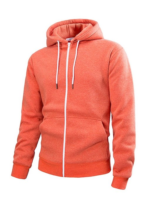 Solid Color Zipper Cardigan Men's Hoodie