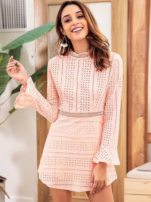 Bell Sleeve Pink Women's Lace Dress